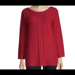 Liz Claiborne Red Round Neck Sweater Med New W/Tag